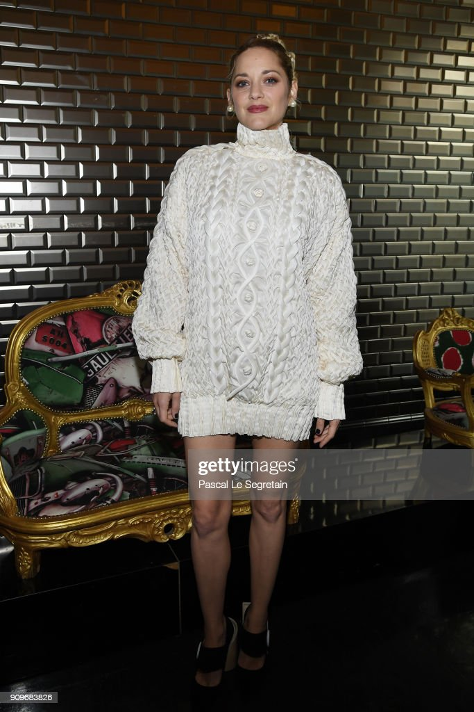Marion Cotillard attends the Jean-Paul Gaultier Haute Couture Spring Summer 2018 show as part of Paris Fashion Week on January 24, 2018 in Paris, France.