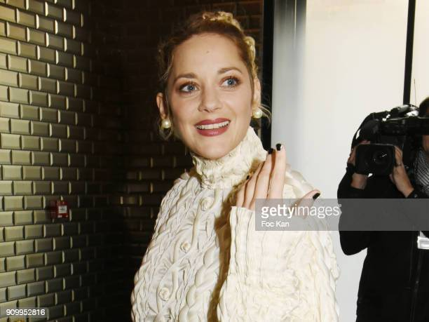 Marion Cotillard attends the JeanPaul Gaultier Haute Couture Spring Summer 2018 show as part of Paris Fashion Week on January 24 2018 in Paris France