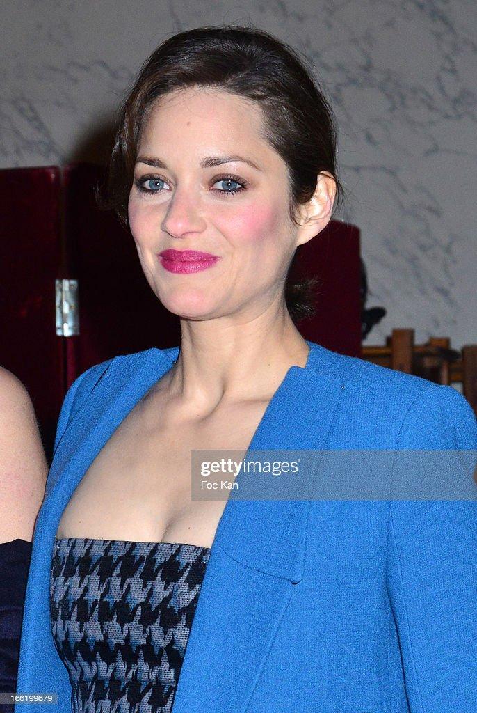 Marion Cotillard attends the Maud Fontenoy Foundation - Annual Gala Arrivals at Hotel de la Marine on April 9, 2013 in Paris, France.
