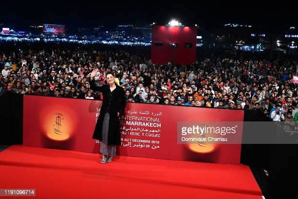 """Marion Cotillard attends the Screening of """" MacBeth"""" at Jemaa El Fna Place during 18th Marrakech International Film Festival - Day Two - on November..."""