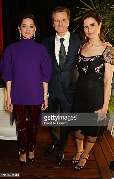 Marion Cotillard Colin Firth and Livia Firth attend the Chopard x Annabel's Cannes party on May 14 2016 in Cannes France