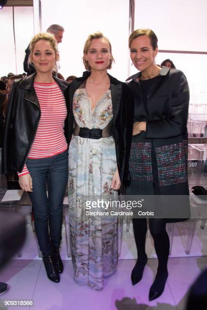Marion Cotillard Diane Kruger and Roberta Armani attend the Giorgio Armani Prive Haute Couture Spring Summer 2018 show as part of Paris Fashion Week...