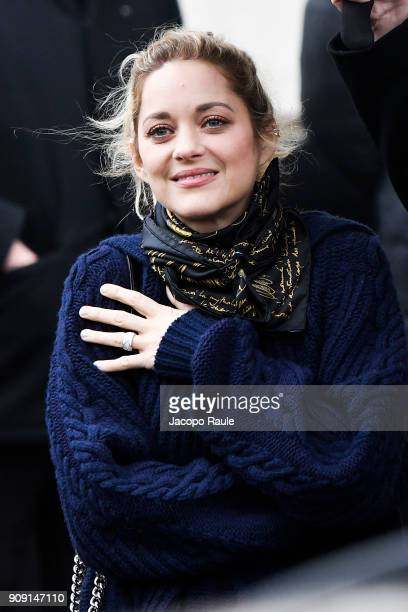 Marion Cotillard is seen arriving at Chanel Fashion show during Paris Fashion Week Haute Couture Spring/Summer 2018 on January 23 2018 in Paris France