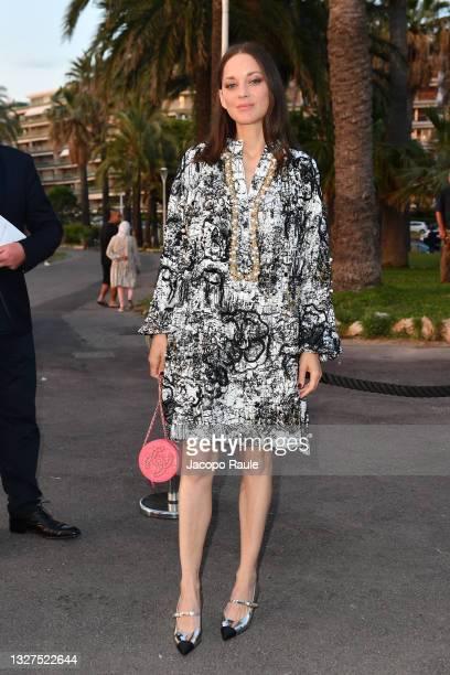 Marion Cotillard is seen during the 74th annual Cannes Film Festival at on July 07, 2021 in Cannes, France.