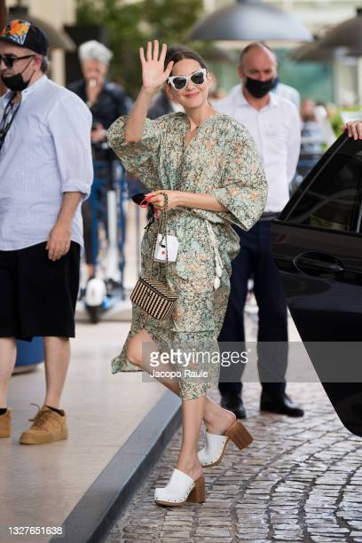 Marion Cotillard is seen during the 74th annual Cannes Film Festival at on July 08, 2021 in Cannes, France.