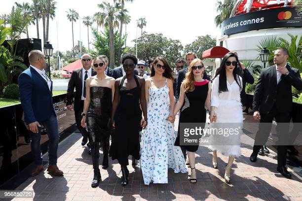 Marion Cotillard Lupita Nyong'o Penelope Cruz Jessica Chastain and Fan Bingbing are seen at 'Le Majestic' hotel during the 71st annual Cannes Film...