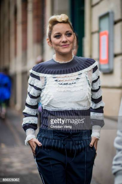 Marion Cotillard seen outside Valentino during Paris Fashion Week Spring/Summer 2018 on October 1 2017 in Paris France
