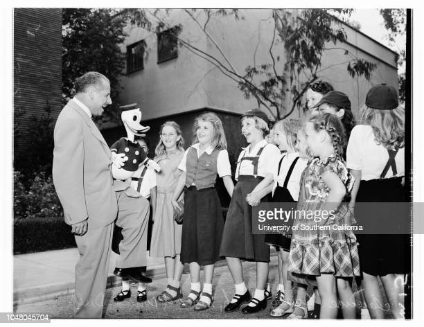 Marion Davies Clinic children at Walt Disney 'Wonderland Party' at Burbank studio, 28 July 1951. Bobby Page -- 6 years;Vicki Hodge -- 6 years;Judy...