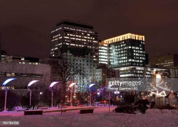 Marion Dewar Plaza Ottawa City Hall at night in winter