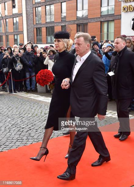 Marion Fedder and Joerg Pawlik during the memorial service for Jan Fedder at Hamburger Michel on January 14 2020 in Hamburg Germany German actor Jan...