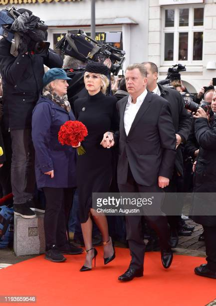 Marion Fedder and Joerg Pawlik during the memorial service for Jan Fedder at Hamburger Michel on January 14 2020 in Hamburg Germany German actor Jan...