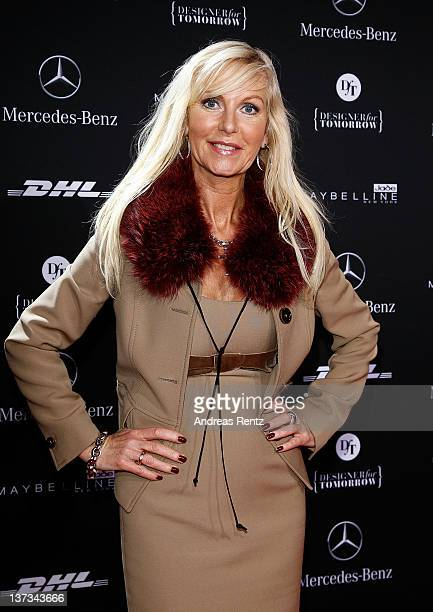 Marion Fedder arrives at the Rena Lange Autumn/Winter 2012 fashion show during Mercedes-Benz Fashion Week Berlin at the Brandenburg Gate on January...