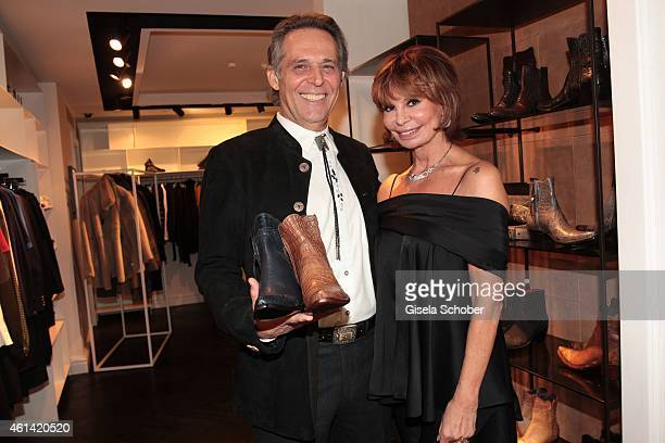 Marion Heinrich and shoe designer Pedro Munoz founder of Stallion Boots pose during MaryKate Olsen and Ashley Olsen present their collection at...