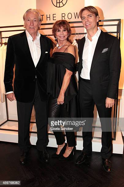 Marion Heinrich her husband Leo Benz and her son Sascha Benz pose during MaryKate Olsen and Ashley Olsen present their collection 'The Row' at Marion...