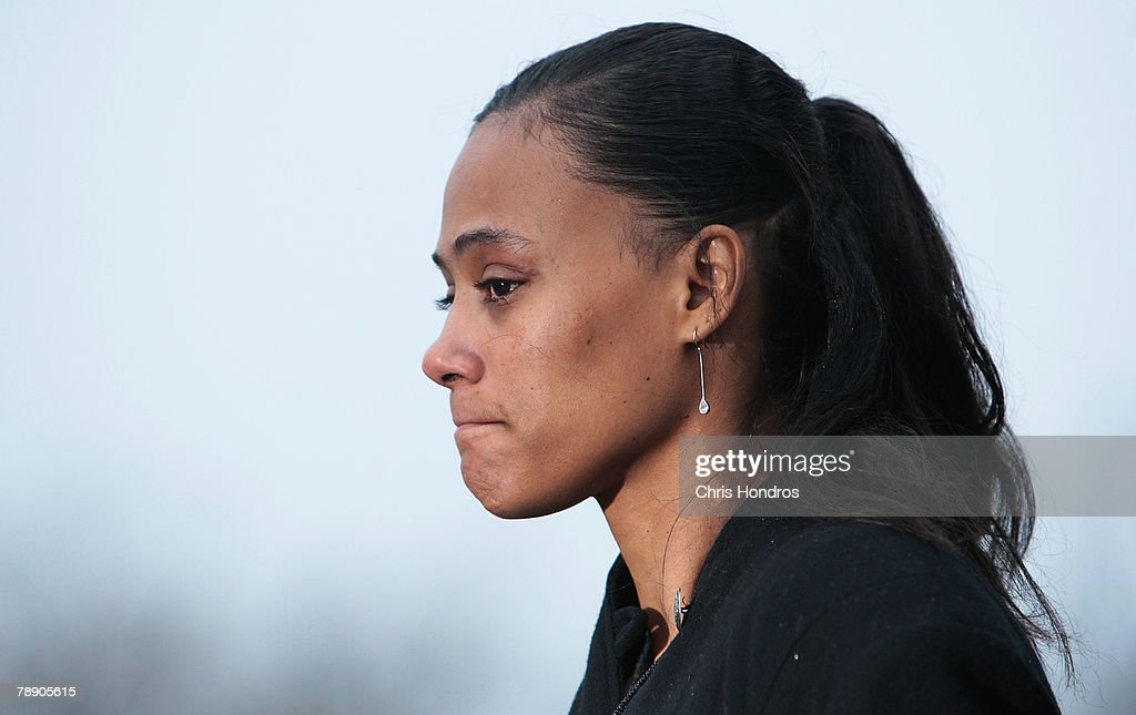 Marion Jones gives a brief statement to the press after she leaves court January 11, 2008 in White Plains, New York. Marion Jones was sentenced to six months in prison for lying about using steroids during her athletic career and a check-fraud scam.