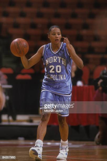 Marion Jones of the North Carolina Tar Heels dribbles up court during a womens college basketball game against the Maryland Terrapins on January 1...