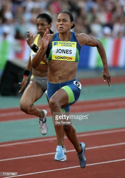 Marion Jones of the USA in the Women's 100 metres during the Norwich Union London Grand Prix at Crystal Palace July 28, 2006 in London, England....