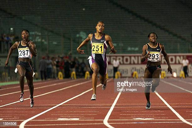Marion Jones of the USA wins the 100m during the Golden Gala IAAF Golden League Meeting at the Stadio Olimpico in Rome, Italy on July 12, 2002.