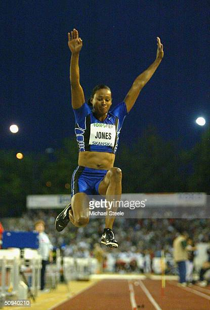 Marion Jones of United States competes in the women's long jump at the IAAF Golden Spike meet on June 8 2004 in Ostrava Czech Republic