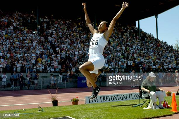 Marion Jones won the Long Jump at 220 in the Prefontaine Classic at the University of Oregon's Hayward Field on Saturday June 19 2004