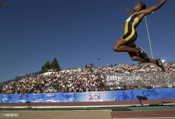 Marion Jones won the women's long jump at 234 at the US Track and Field Olympic trials at California State University Sacramento Hornet Stadium...