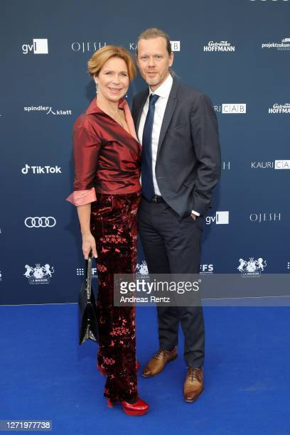 Marion Kracht and Berthold Manns arrive for the Deutscher Schauspielpreis 2020 at Spindler & Klatt on September 11, 2020 in Berlin, Germany.