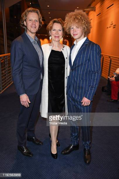 "Marion Kracht, her husband Berthold Manns and their son Tizian Kracht attend the ""That's Life - The Sinatra Musical"" premiere at Theater am Potsdamer..."