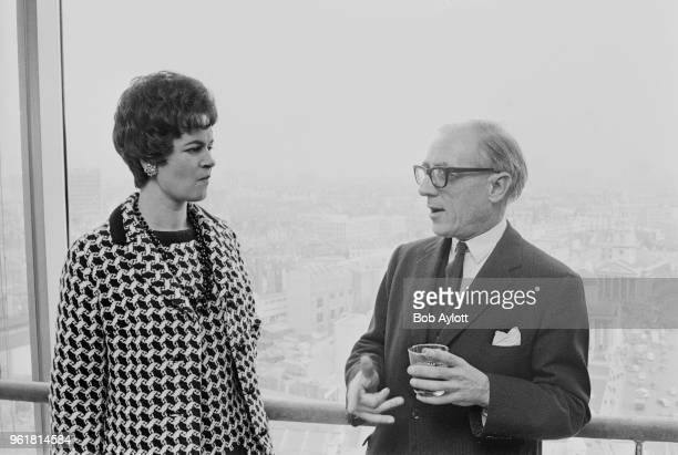 Marion Lascelles Countess of Harewood chats to conductor Paul Steinitz during a reception at Martini Terrace New Zealand House London to inaugurate...