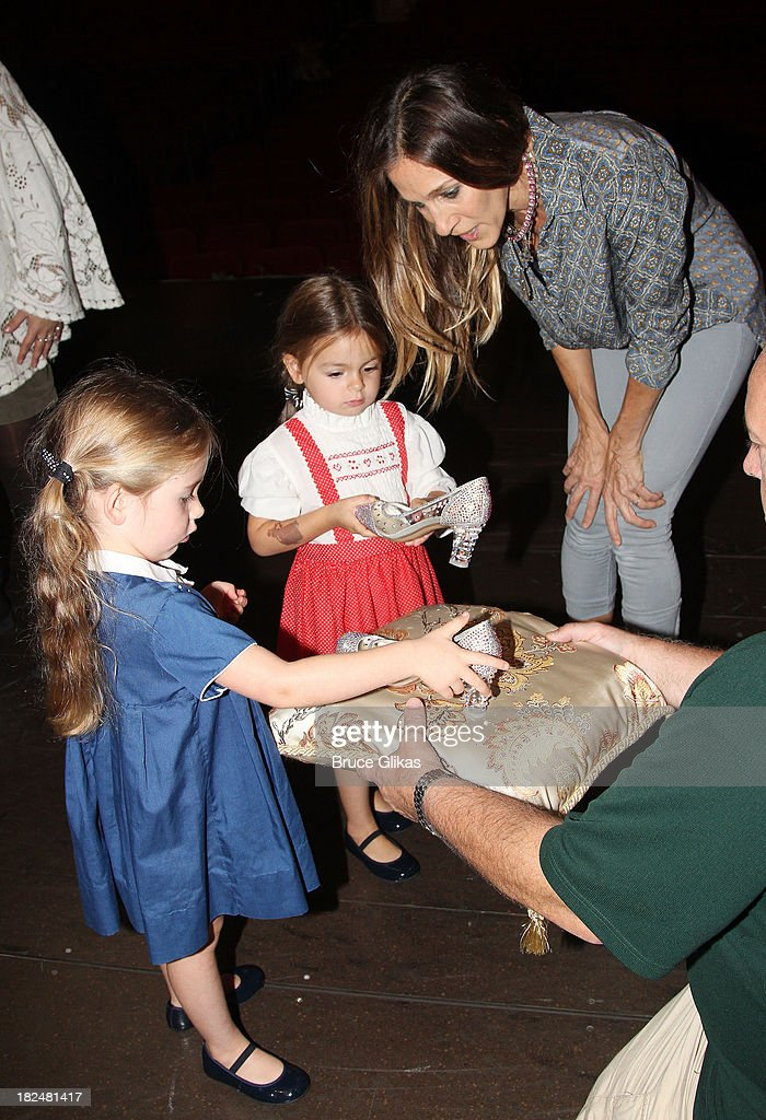 Marion Loretta Elwell Broderick, Tabitha Hodge Broderick and mother Sarah Jessica Parker backstage at 'Rodgers & Hammerstein's Cinderella' on Broadway at The Broadway Theater on September 29, 2013 in New York City.