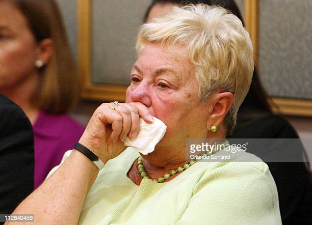 Marion Loverde mother of SeaWorld trainer Dawn Brancheau is emotional Wednesday March 24 during a court hearing in Orlando Florida Judge Lawrence...