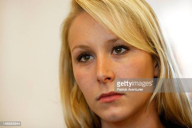 Marion Marechal Le Pen looks on during the press conference of the National Front on June 19 2012 in Paris France MarechalLe Pen 22yearsold is the...