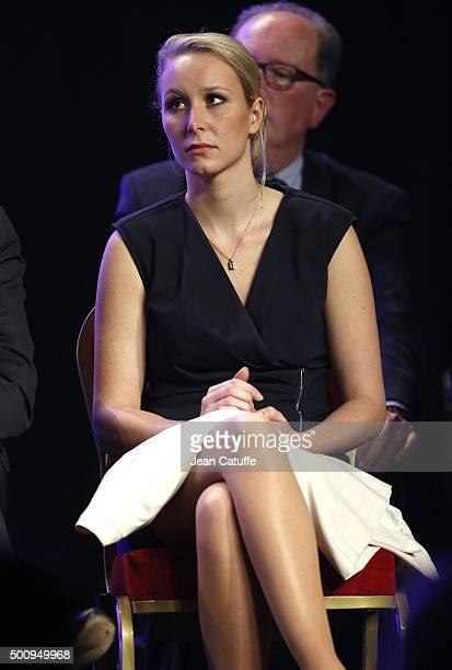 Marion Marechal Le Pen regional candidate in ProvenceAlpesCote d'Azur attends the FN meeting for regional elections at Salle Wagram on December 10...