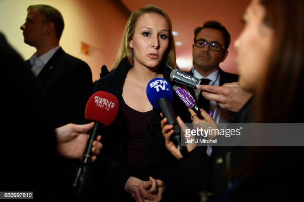 Marion Marechal Le Pen speaks during launch of her mother's Presidential campaign in the Centre de Congres on February 4 2017 in Lyon France One of...