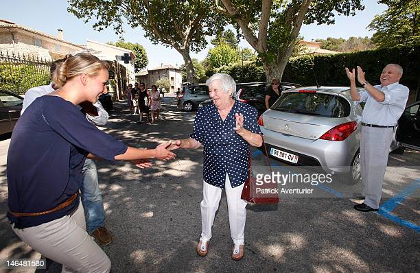 Marion Marechal Le Pen the granddaughter of Jean Marie Le Pen the founder of the Front National visits the polls during the legislative election June...