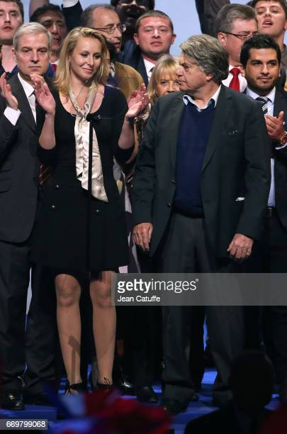Marion MarechalLe Pen and Gilbert Collard attend the rally campaign of French presidential candidate Marine Le Pen of Front National party at Zenith...