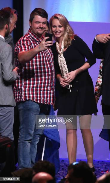 Marion MarechalLe Pen attends the rally campaign of her aunt French presidential candidate Marine Le Pen of Front National party at Zenith of Paris...