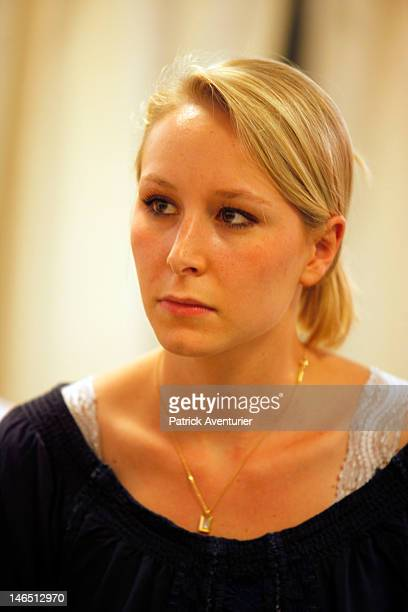 Marion MarechalLe Pen granddaughter of the founder of the Front National and niece of Marine Le Pen President of FN visits the polls during the...
