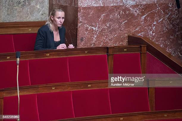 Marion MarechalLe Pen member of the Front National reacts during the weekly questions to the government at French National Assembly on July 6 2016 in...