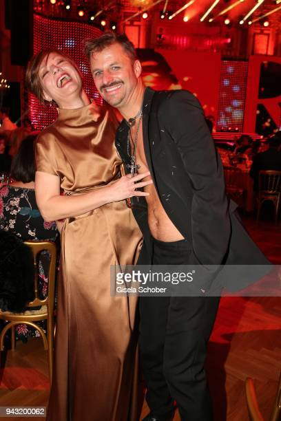 Marion Mitterhammer, Philipp Hochmair without shirt during the 29th ROMY award at Hofburg Vienna on April 7, 2018 in Vienna, Austria.