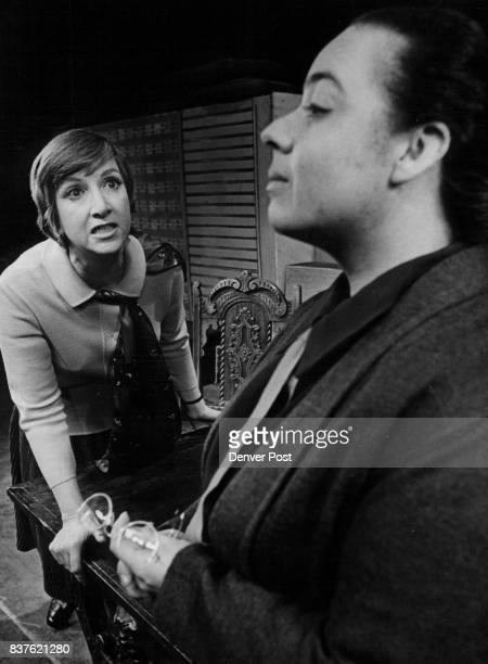 Marion Neet as the deluded schoolteacher in 'The Prime of Miss Jean Brodie' confronts a colleague played by Lee Gallup who brings her disastrous...