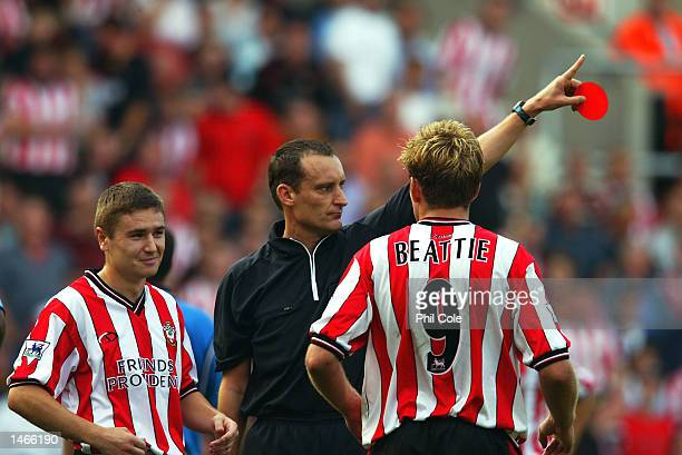 Marion Pahars of Southampton is sent off during the FA Barclaycard Premiership match between Southampton and Manchester City at St Marys Stadium in...
