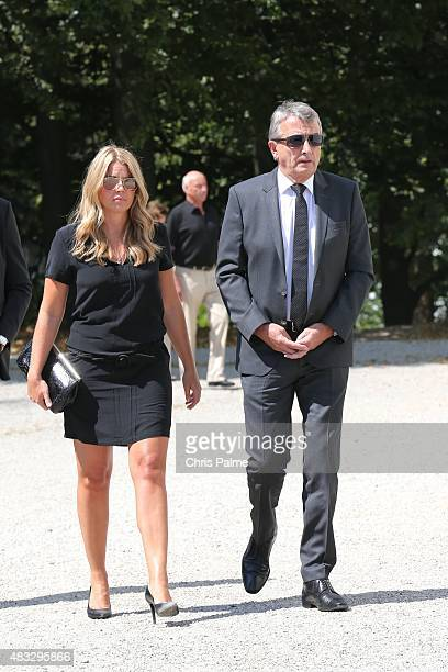 Marion Popp Wolfgang Niersbach during the memorial service for Stephan Beckenbauer at church 'St Heilige Familie' on August 7 2015 in Munich Germany...