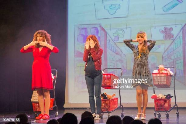 Marion Posta Anais Delva and Cecilia Cara perform during 'Enooormes' Paris Premiere at Theater Trevise on January 12 2018 in Paris France