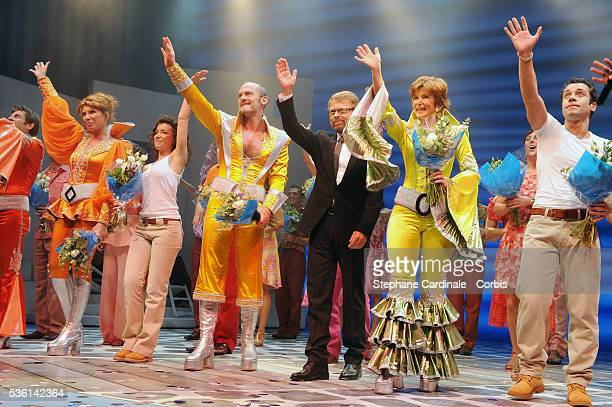 Marion Posta Gaelle Gauthier Jerome Pradon Björn Kristian Ulvaeus Claire Guyot and Dan Menash on stage during the premiere of Mamma Mia at Theatre...