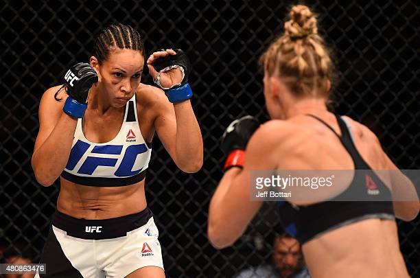 Marion Reneau circles Holly Holm in their women's bantamweight bout during the UFC event at the Valley View Casino Center on July 15 2015 in San...