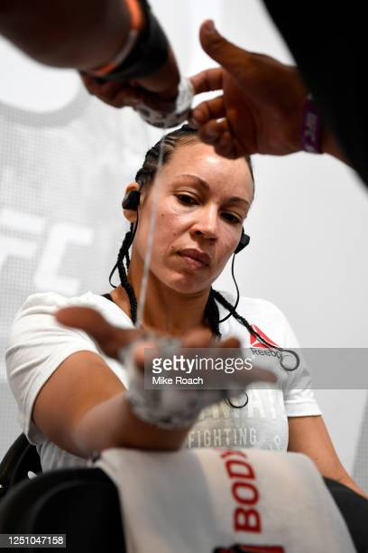 Marion Reneau has her hands wrapped prior to her fight during the UFC Fight Night event at UFC APEX on June 20 2020 in Las Vegas Nevada