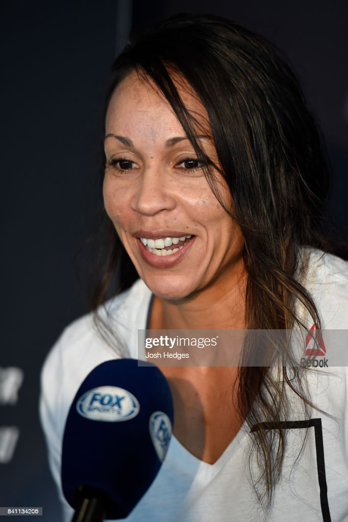 Marion Reneau interacts with media during the UFC Ultimate Media Day at the Inntel Rotterdam Centre Hotel on August 31, 2017 in Rotterdam, Netherlands.