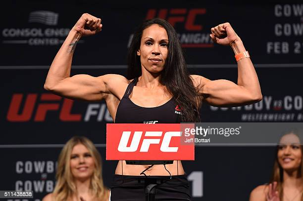 Marion Reneau of the United States steps on the scale during the UFC Fight Night weighin at Stage AE on February 20 2016 in Pittsburgh Pennsylvania