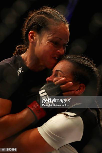 Marion Reneau of the USA and Talita Bernardo of Brazil compete in their Women's Bantamweight bout during the UFC Fight Night at Ahoy on September 2...