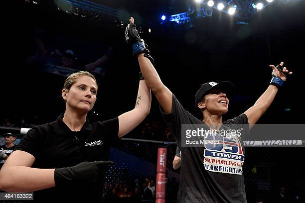Marion Reneau of United States celebrates after defeating Jessica Andrade of the Brazil in their bantamweight bout during the UFC Fight Night at...